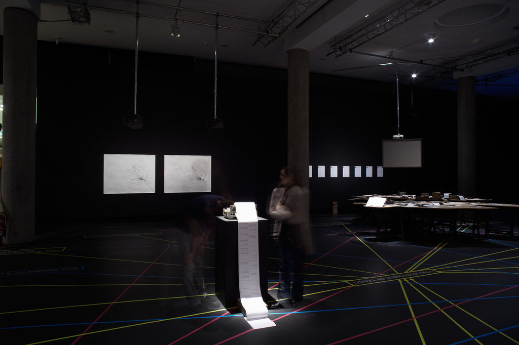 Installation View of The Re-drawing of Everywhere We've Been in Berlin Since 2007 and The printing of every text message we sent each other since 2007 photo: Manuel Reinartz