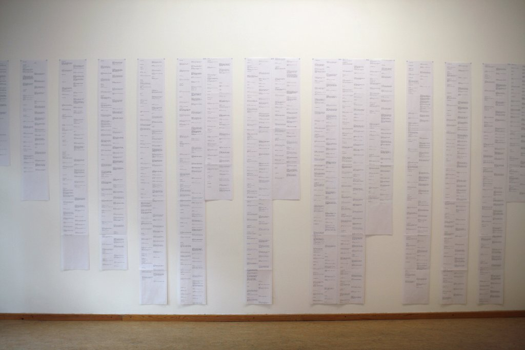 Every Text Message We Sent Each Other in 2011 (2012) Installation shot Art Laboratory Berlin photo: Belasco & New